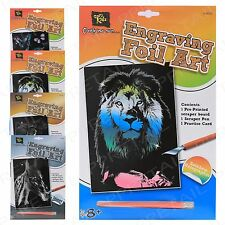 4 x ASSORTED DESIGNS Engraving Foil Art Gold Silver Holographic Kids Art Craft