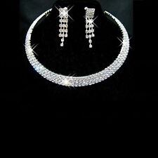Wedding Jewelry Jewellery Set Sparkling  Diamante Necklace Stud Earrings SETS UK