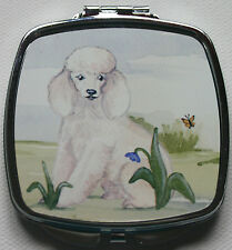 POODLE WHITE DOG ladies handbag mirror compact Sandra Coen sublimation printed