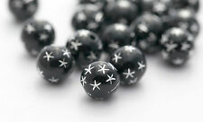 Black Silver Etched Acrylic Star Beads 10mm (20)