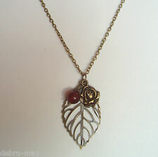 Red Quartz Bronze Rose and Filigree Leaf Cluster Pendant Chain Necklace ~ 32""