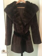 100% Real Kopenhagen Fur Mink Coat With Hood Ladies Women Jacket Size 8/10 XS/S