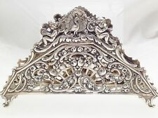 Antique Vintage 800 Sterling Silver Napkin Holder German Art Nouveaux Flower