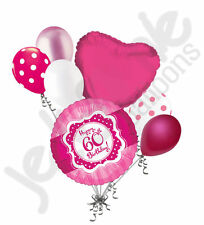 7 pc Happy 60th Birthday Hot Pink & Dots Balloon Bouquet Sixty Ribbon & Lace
