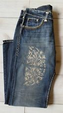 Mens Jeans Medium Wash Embroidered Western Made in USA Denim Hoss Brand Size 36