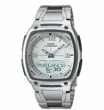 Casio Original NEW AW-81D-7 Data Bank Chronograph Mens Watch AW-81D White Silver