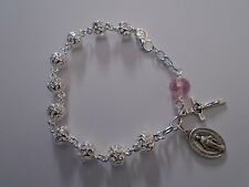 ROSARY BRACELET 925 Sterling Silver Filigree Beads PINK Crystal Miraculous Medal