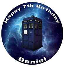 """Dr Who Tardis Personalised Cake Topper Edible Wafer Paper 7.5"""""""