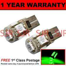 W5W T10 501 CANBUS ERROR FREE GREEN 5 LED SIDELIGHT SIDE LIGHT BULBS X2 SL101304