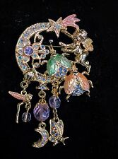 KIRKS FOLLY FIREFLIES AND FAIRY GOLD TONED PIN/BROOCH  BEAUTIFUL