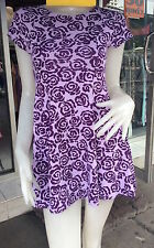 Mango  Purple Irregular Print   Clubwear/Casual Skater Mini Dress One S 8-10