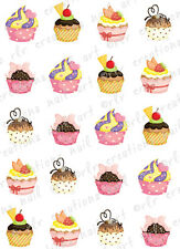 20 COLORFUL * CUPCAKES * Water Slide Nail Art Decals Colorful Assorted Designs.