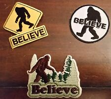 "Variety Pack of 3 Bigfoot Sasquatch ""Believe""  Iron/Sew cloth patches"