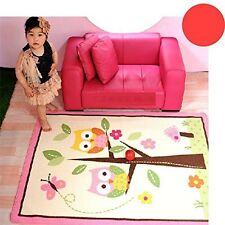 Cartoon Owl Carpet Pink Fairy Girls Rug For Living Room,Butterfly Kids Rug