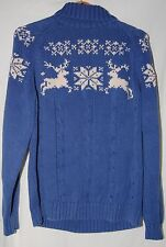 Lands End Nordic Reindeer Winter Turtleneck Sweater XL Blue White Christmas