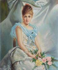 Echtes Ölgemälde im Jugendstil Frauenporträt Belle Epoque