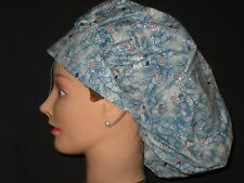 Surgical Scrub Hats/Caps Winter Blue pine boughs with silver sparkles