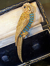 VINTAGE JEWELERY ADORABLE SEED PEARL TURQUOISE BUDGERIGAR BIRD BROOCH SHAWL PIN