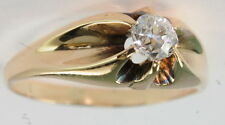 Gents Antique 14k Yellow Gold 1/3 Ct Belcher Set Mine Cut Diamond Solitaire Ring
