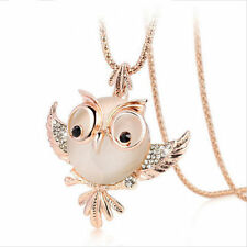 18k Rose Gold GP Swarovski Crystal Opal Sweater Chain Owl Pendant Necklace Women
