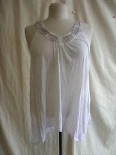 Ladies Top - DKNY Jeans, size M, white/metallic neck design, white, used - 0126