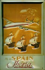 Iberia Airlines fly to Spain chapa escudo Escudo de chapa de metal Tin sign 20 x 30 cm