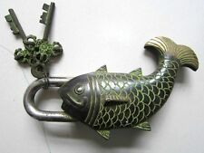 Chinese bronze door lock Golden fish shape auspicious better than every year old