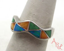 Sterling Silver Vintage 925 Zuni Wavy Band Fire Opal Ring Sz 5.75 (5g) - 553222