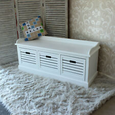 White Storage Bench With 3 Drawers Hall Unit Crate Wood Seat Chest Store Shoes