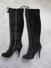 BLACK GENUINE SUEDE OVER THE KNEE HIGH STILETTO HEEL LACE UP BOOTS SIZE 5 (7W)