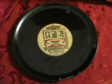 Couroc black round tray inlaid San Francisco Cable Car brass details Monterey CA