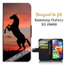 Samsung Galaxy S5 i9600 Wallet Flip Phone Case Cover Horse Sunset Y00323