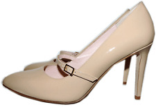 KATE SPADE Mary Jane Pointy Toe Beige Nude Patent Leather Heels Pump Shoe 8 -38