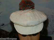 American Girl Tagged AG JULIE WHITE CAP W/ POMPOM fr SCARF OUTFIT BERET RETIRED