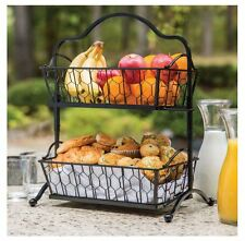 Rustic Multi-Purpose 2-Tier Wrought Iron Food Fruit Display Basket Stand Decor