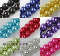 Wholesale Lots Glass Crystal Pearl Round Spacer Loose Beads 4mm/6mm/8mm