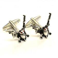 Bats with Red Crystal Eyes Cufflinks Halloween Vampire Blood Present Gift Box