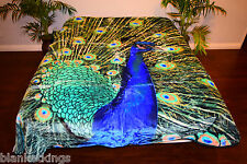 ☀️NEW 5 POUNDS SOFT QUEEN KOREAN MINK BLANKET Plush Throw BLUE PEACOCK BIRD