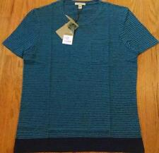 "Mens Authentic Burberry Brit ""Waltham"" Pocket Striped T-Shirt Blue 2XL $195"