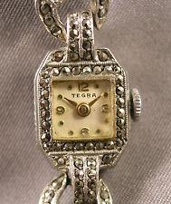 Art Deco Ladies Wristwatch & Band Silvertone w/  Marcasites Tegra 17Jewels Swiss