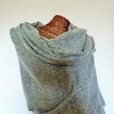 LARGE LUXURY YAK WOOL SHAWL OVERSIZE WRAP SCARF PASHMINA BLANKET GREY & WHITE
