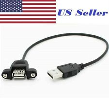 USB 2.0 A Male to A Female Extension Cable 30cm With Screws Panel Mount