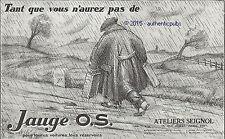 PUBLICITE JAUGE OS O.S. COMPTEUR COMPTE TOUR AUTOMOBILE DE 1927 FRENCH AD PUB