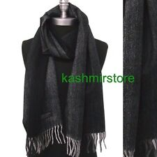 New 100% CASHMERE Scarf Herringbone Tweed Plaid Check SCOTLAND Soft Black/gray