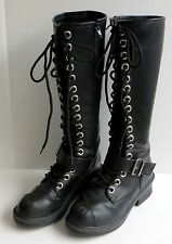NANA Tall Women's Boots Black Lace-up Gothic Biker Cosplay Size 8