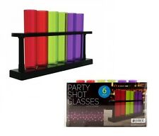 6 Multi Color Test Tube Shot Glass Shatter Proof Shooter Party w/ Rack Stand NEW