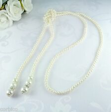 N1 Long Knotted Faux Pearl Sweater Necklace Vintage 1920s Style