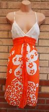 STUDIO M WHITE ORANGE STRAPPY BELTED WAISTBAND A LINE FLORAL SUMMER DRESS 14 L