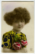 1920's French Deco Children Child LITTLE GIRL CUTEY tinted photo postcard