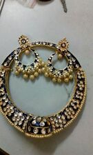Royal Blue Kundan Bridal Wedding Gold Tone Choker Necklace Earring Jewelry Set